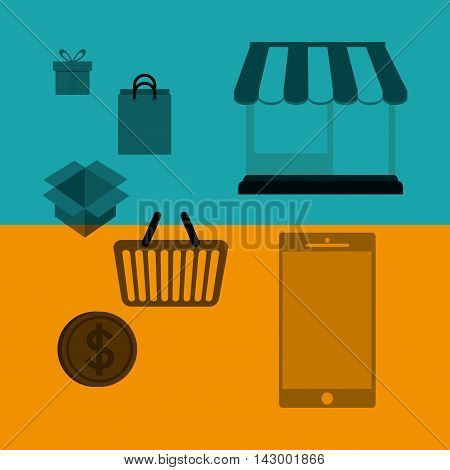 shopping bag gift box basket smartphone store coin online payment ecommerce icon. Flat illustration. Vector graphic