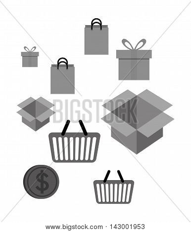 shopping bag box gift coin basket online payment ecommerce icon. Flat illustration. Vector graphic