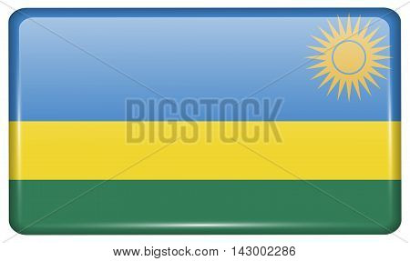 Flags Rwanda In The Form Of A Magnet On Refrigerator With Reflections Light. Vector
