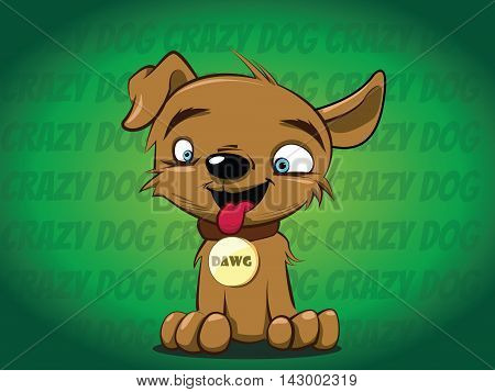 Vector cartoon hand drawn happy dog portrait.  Dog logo. Dog icon. Dog clinic, dog barber, dog center, dog food, dog walk, dog shop. Doggy illustration, puppy lover, animal accessories.