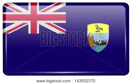 Flags Saint Helena In The Form Of A Magnet On Refrigerator With Reflections Light. Vector