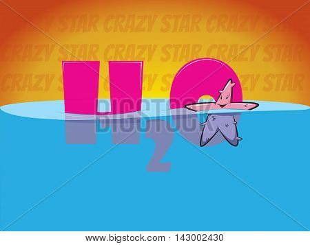Happy Starfish in the water. H2O illustration with a star. Underwater star. Cartoon sea Starfish. Ocean animal Starfish.