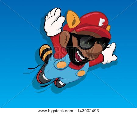 Cartoon black man character flying. Falling character of black man. Funny character with hands spread. Funny smiling character. Jumping character with spread arms.