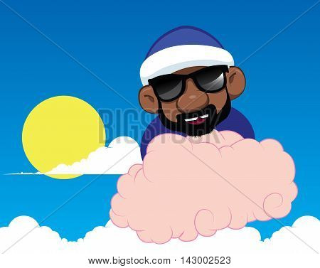 Vector detailed character with shades on a cloud. Flying character. Black man on flying cloud. Flying nimbus in the sky. Air, sun, black man, glasses and clouds.