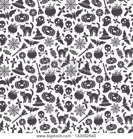 Halloween Seamless Pattern with Pumpkin, Spider Web, Candy, Witch Hat, Broom and Cauldron, Skull and Crossbones. Vector Illustration. Flat Black Icons on White Background
