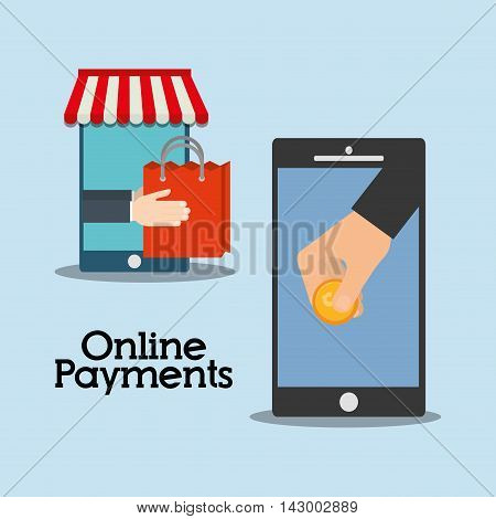 smartphone hand bag coin online payment shopping ecommerce icon. Flat illustration. Vector graphic