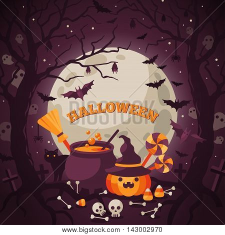 Halloween Background with Orange Pumpkin and Cauldron. Vector Flat Illustration. Full Moon Night in Spooky Forest.