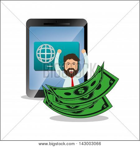 tablet bills credit card man online payment shopping ecommerce icon. Flat illustration. Vector graphic