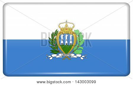 Flags San Marino In The Form Of A Magnet On Refrigerator With Reflections Light. Vector