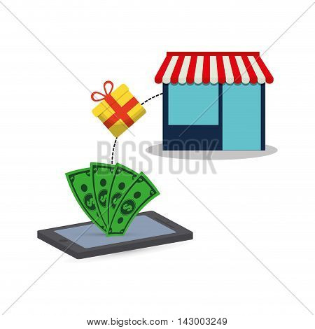 smartphone bills gift store online payment shopping ecommerce icon. Flat illustration. Vector graphic