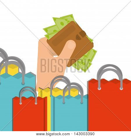 shopping bag wallet bills online payment ecommerce icon. Flat illustration. Vector graphic
