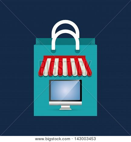 shopping bag computer online payment ecommerce icon. Flat illustration. Vector graphic