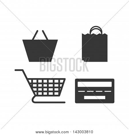 shopping bag credit card cart basket online payment ecommerce icon. Flat illustration. Vector graphic