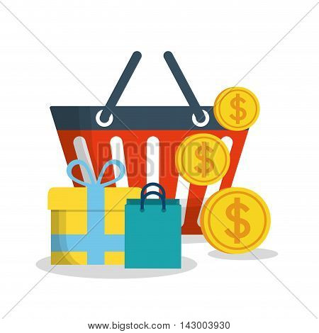 shopping basket coins gift bag online payment ecommerce icon. Flat illustration. Vector graphic