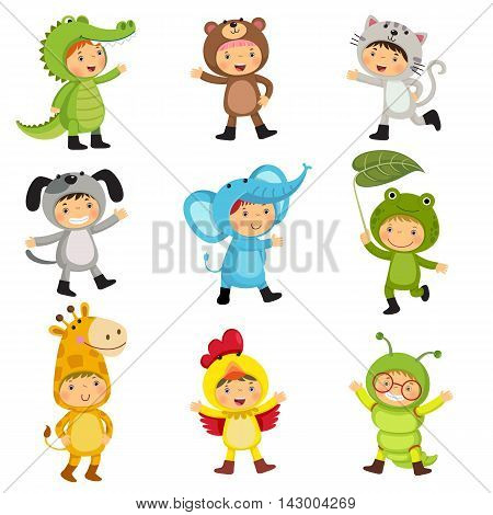 Set of cute kids wearing animal costumes. Alligator bear cat dog elephant frog giraffe hen inchworm.