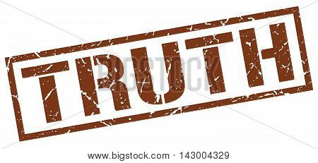 truth stamp. brown grunge square isolated sign