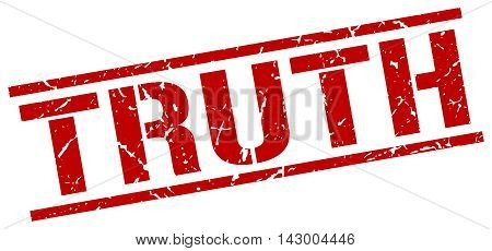 truth stamp. red grunge square isolated sign