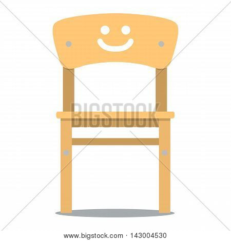 Vector colorful illustration of wooden children chair with backrest in flat style isolated on white background furniture for an interior children room.