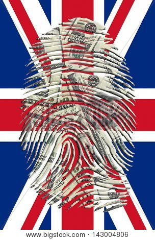US Dollars Fingerprint with UK Flag 3D Rendered