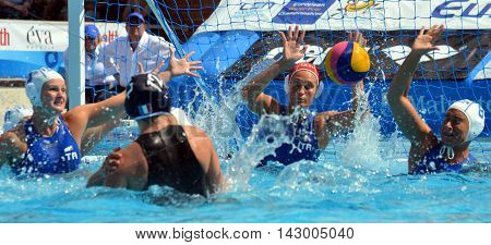 Budapest, Hungary - Jul 16, 2014. France's DAULE Audrey (FRA, 12) throwing the ball. The Waterpolo European Championship was held in Alfred Hajos Swimming Centre in 2014.