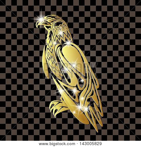 Golden eagle on a transparent background with patches
