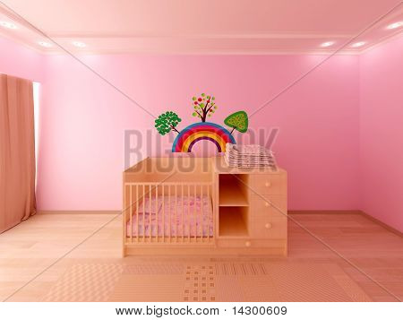 render of pink baby room