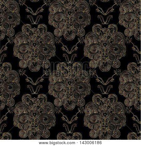 Raster golden damask pattern on black background.