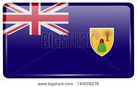 Flags Turks And Caicos In The Form Of A Magnet On Refrigerator With Reflections Light. Vector