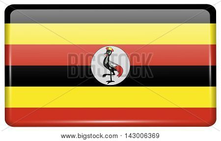 Flags Uganda In The Form Of A Magnet On Refrigerator With Reflections Light. Vector