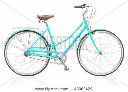 Stylish womens blue bicycle isolated on white background