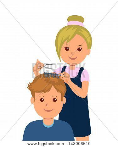 A man came into the barbershop to get a haircut. Woman hairdresser makes haircut and hair styling. Isolated vector illustration a client in the barber shop.
