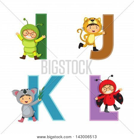 English alphabet with kids in animal costume I to L letters