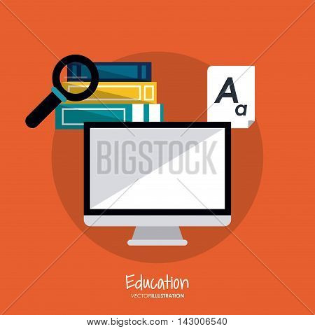 computer book lupe document education learning school icon. Colorful design. Vector illustration