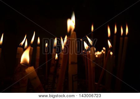 Candles in Bethlehem. In the Holy Land. Bethlehem - the center of pilgrimage and tourism
