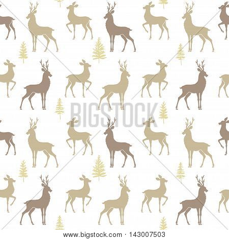 Beautiful seamless pattern background with silhouette deers. Amazing winter wallpaper. Vector illustration