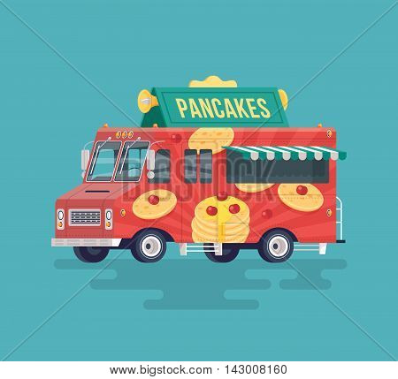 Vector colorful flat pancakes truck. Food truck. Street cuisine. Cartoon food truck illustration.