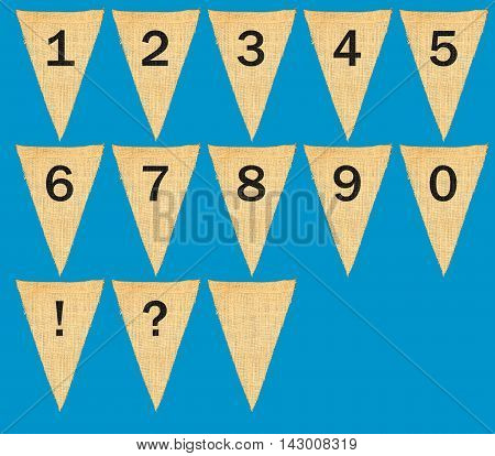 Individual Cloth Pennants Or Flags With Numbers
