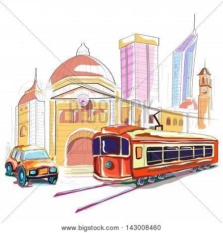 easy to edit vector illustration of Australia cityscape