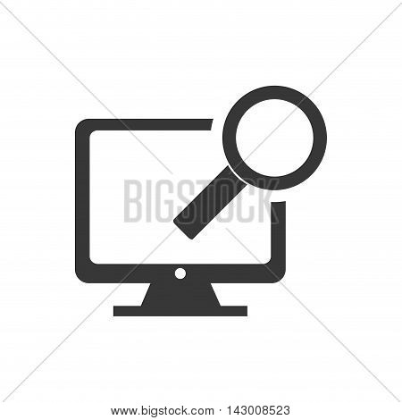 Computer lupe gadget technology media icon. Isolated and flat illustration. Vector graphic