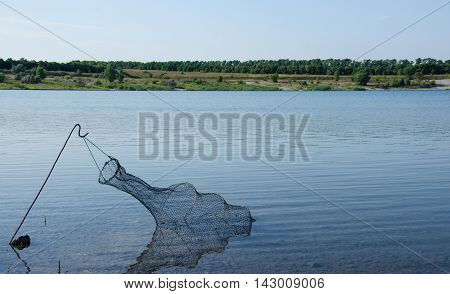 Fishing. Morning on the pond . Fish tank in water