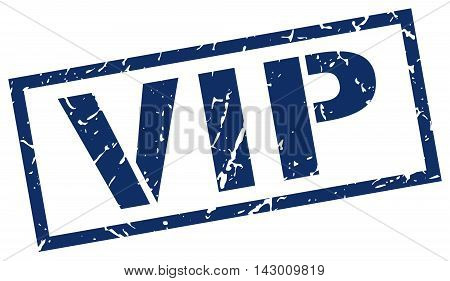 vip stamp. blue grunge square isolated sign