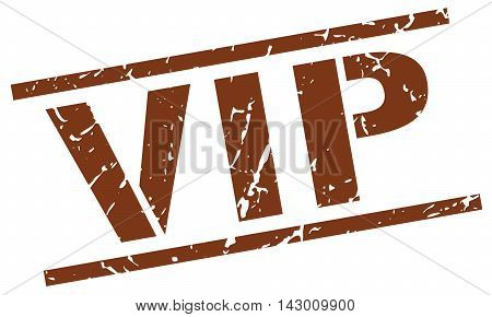 vip stamp. brown grunge square isolated sign