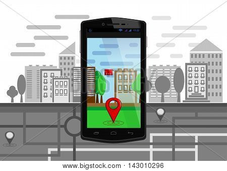 Urban landscape and map with elements of augmented reality on the screen of smartphone. Geo location service mobile app. Navigation map pin marker modern digital device. Vector illustration
