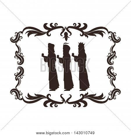 wise man holy family merry christmas frame icon. Black white isolated design. Vector illustration