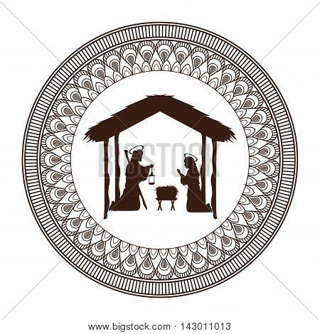 joseph mary holy family merry christmas frame icon. Black white isolated design. Vector illustration