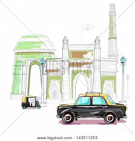 easy to edit vector illustration of India cityscape