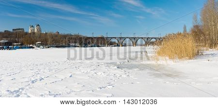 Winter panoramic landscape with Dnepr river in Dnepropetrovsk city Ukraine.