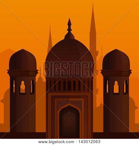 Arabic architecture. Eid Mubarak. Elegant islamic template design. Islamic background. Vector illustration