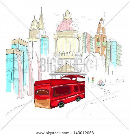easy to edit vector illustration of Ireland cityscape