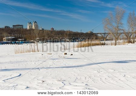 Winter landscape with Dnepr river in Dnepropetrovsk city Ukraine.